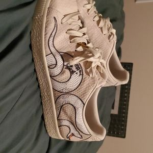 Cream color puma Clyde stimulated snake skin